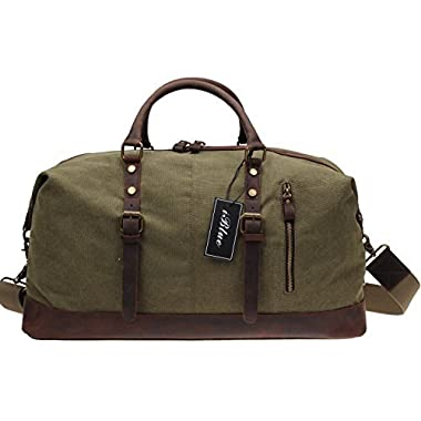 Iblue Large Leather Canvas Travel Shoulder Duffels Weekend Tote Carryon Handbag #831 (Army Green Xl 21.6 In)
