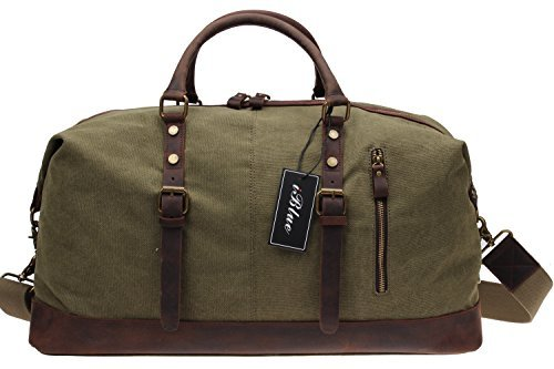 Amazon.com | Iblue Large Leather Canvas Travel Shoulder Duffels ...