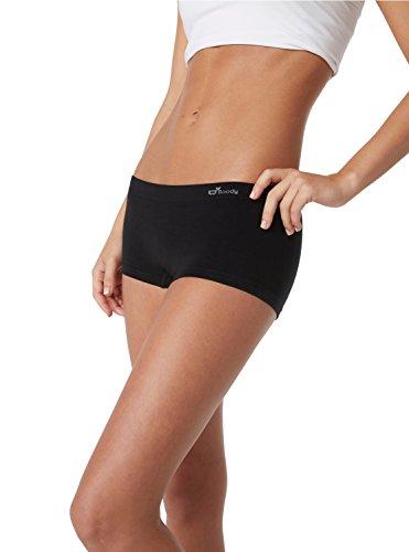 (Boody Body EcoWear Women's Boyleg Briefs - Seamless Boyshort Underwear Made from Natural Organic Bamboo Viscose – Soft Breathable Eco Fashion for Sensitive Skin - Black, Extra Small)