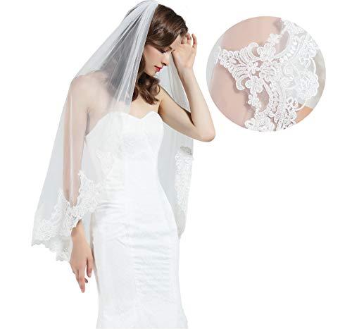 - Wedding Bridal Veil with Comb 1 Tier Half Lace Applique Edge Fingertip Length 36