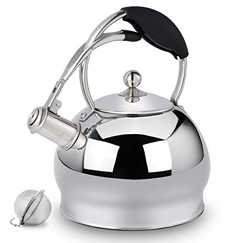 (Sotya Surgical Whistling TeaKettle Teapot with Anti-hot glove and Mirror Finish, 3.17 Quart Tea Pot Kettle Stove Top Tea Maker Infuser Teapots Strainer Included)