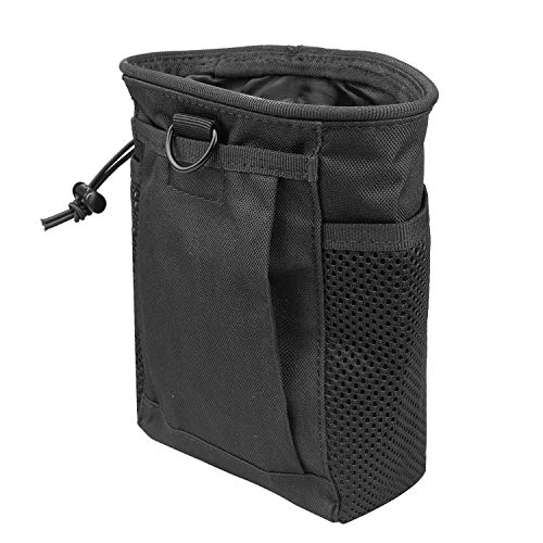 AMYIPO Tactical Molle Drawstring Magazine Dump Pouch, Military Adjustable Belt Utility Hip Holster Bag Outdoor Ammo Pouch (Black)