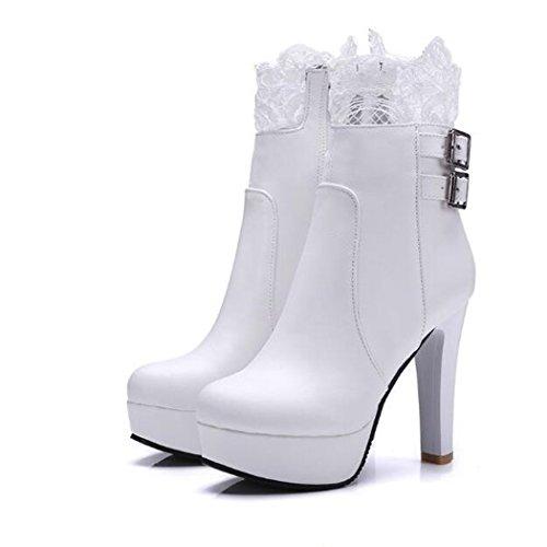 con di testa e ultra scarpe fibbia cintura numero alta a con di un In ZQ gran white stivali inverno spessore elegante QX donna da autunno circolare pizzo 1tqvKYBwT
