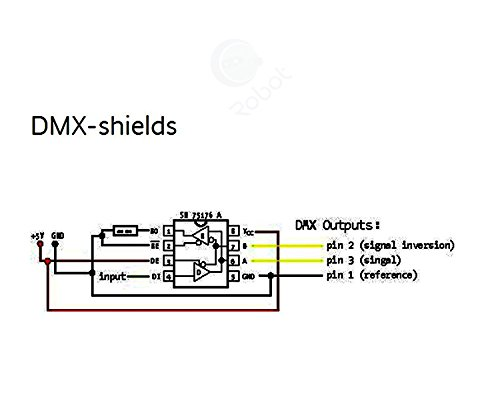 dmx shield max485 chipset for arduino  rdm capable  cqrobot