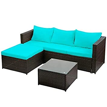 Suwikeke Rattan Wicker Sectional Furniture Garden Patio Sofa Set 3-Pieces, Blue Cushion