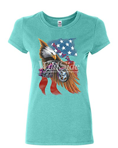 T-shirt Steel Wings (Wings of Steel Cotton T-Shirt Route 66 Biker Flag Bald Eagle Light Blue M)