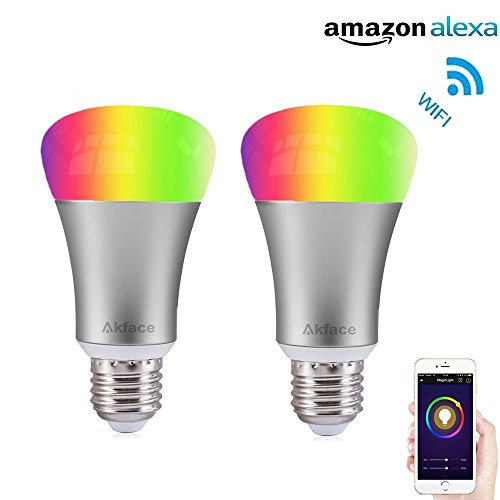 Akface WiFi Smart A19 LED Light Bulb, Dimmable Multicolor...