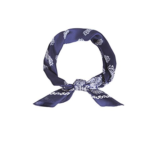 Print Neck Scarf (Lusm Women's Soft Lightweight Polyester Square Beach Bandana Summer Neck Scarf Black (blue paisley))