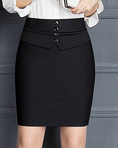 Femme Affaires Enroule Crayon Jupes Taille Mince Elastique Court Noir Jupe Haute rwprHS