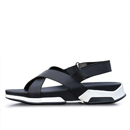 Vera Uomo Pelle Velcro In Sandali Con NBWE Da Chiusura Casual A Black AtgFHXxqB