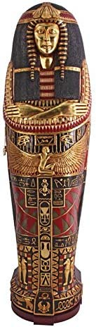 Design Toscano Queen Ankhesenamun Egyptian Mummy Sarcophagus Coffin Storage Cabinet, 6 Feet, Gold Leaf