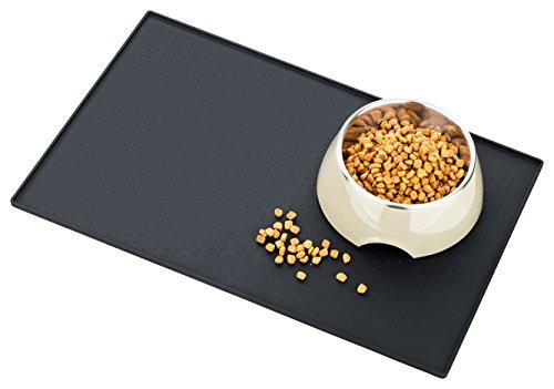 Napfunterlage von Smart Animal - Premium Silikon Napfunterlage für Katze und Hund | Abwaschbare Schmutzfangmatte mit hohem Rand | Rutschfest und abwaschbar in schlichtem Design | 100 % Zufriedenheit und 2 Jahre Garantie (48X30CM, Schwarz)