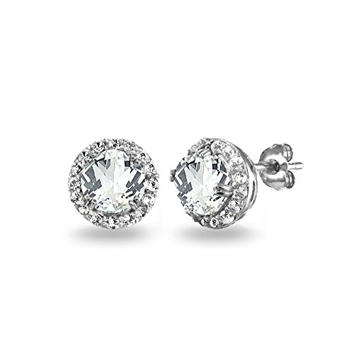 - Sterling Silver White Topaz Round Halo Stud Earrings