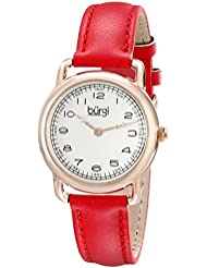 Burgi Womens BUR121RD Classic Two-hand Rose Gold & Red Leather Strap Watch