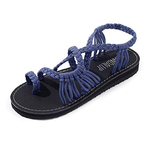 SANDALUP Sandals for Women Summer with Handmade Sole and Braided Strap Blue 11