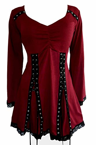 Dare to Wear Electra Corset Top: Victorian Gothic Steampunk Plus Size Women's Shirt for Everyday Halloween Cosplay Festivals, Garnet -