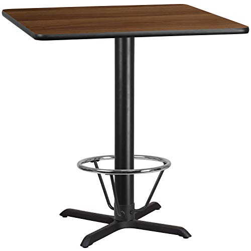 MFO 42'' Square Walnut Laminate Table Top with 33'' x 33'' Bar Height Table Base and Foot Ring