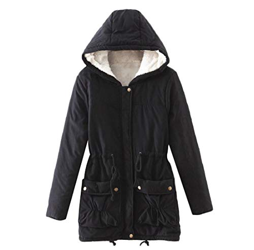 Cotton Black Color Womens Padded Sankt Slim Overcoat Hooded Solid Drawstring nWz0zHxB