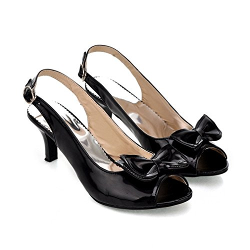 GIY Women's Peep Toe Cutout Slingback Heeled Sandals Ankle Strap Kitten Heel Bowtie Dress - Slingback Heels Bow