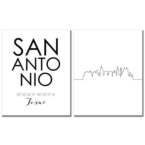N&T San Antonio City Skyline Wall Décor Prints - Set of 2 (8x10) Art Photos - Typography Minimalist Poster ()