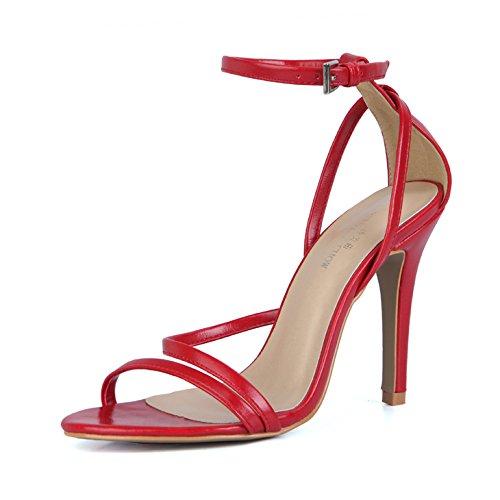 zapatos interesantes de con alta ZHZNVX banquete nocturnas La la mujer Heel Shoes sesiones sexy verano red mujer Wine nueva CD sandalias vP7yFv6