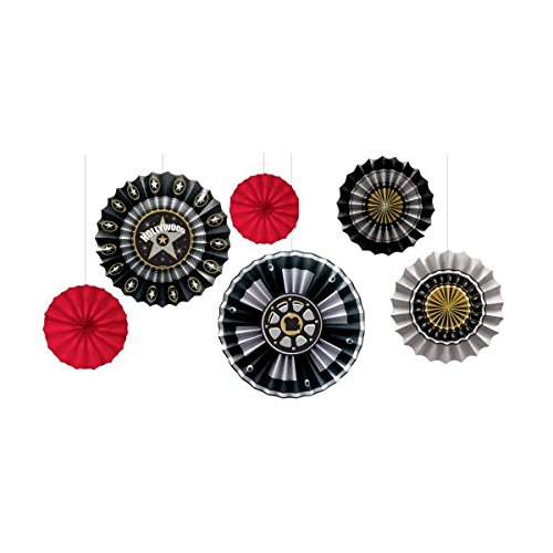 Amscan Hollywood Movie Themed Party Movie Reel Round Fan Decoration (6 Piece), Black/Gold/Silver, 13 x 11