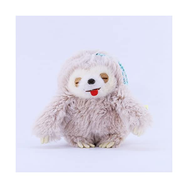Amuse Sloth Plush Namakemono Mikke Matarri Moca - Sloth Plush Ball Keychain 3.9&Quot; Height - Authentic Kawaii From Japan -