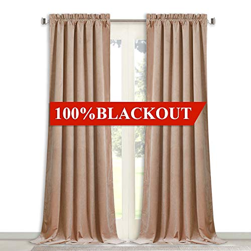 2 Layers Velvet Soundproof Curtains - Soft Silky Velvet Drapes with 100% Blackout Backing Heat Insulated Window Treatment Set for Bedroom/Nursery, Blush Beige, W52 x L84-inch, 1 Pair ()