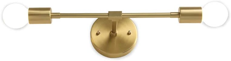 NC Lighting Brushed Brass Mid Century Modern Wall Sconce, 2 Lights Minimalist Bathroom Light, Semi Flush Mount Ceiling Over Mirror Vanity Lighting Fixture for Bathroom, Bedroom, Living Room