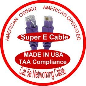UL cm and 100/% Copper. 24AWG, 50u Gold Plating Cat5e Ethernet Patch Cable RJ45 Computer Networking Cord - 110 Ft Made in USA, Purple