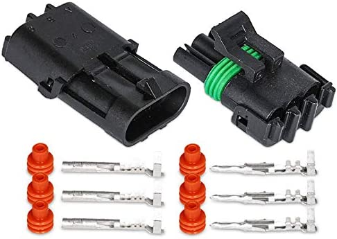 5 Kit of 1 Pin Way Waterproof Electrical Connector 1.5mm Series Terminals Heat Shrink Quick Locking Wire Harness Sockets 20-14 AWG HIFROM