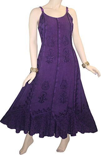 1005 DR Gypsy Sexy Summer Scalloped Dress [Purple; S] by Agan Traders