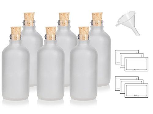 4 oz / 120 ml Frosted Clear Glass Boston Round Bottle with Cork Stopper Closure (6 Pack) + Funnel and ()