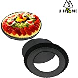 U-HOOME Non-stick 9 inch Fluted Pizza Pan Quiche Pan With Removable Loose Bottom Tart Pie Pan Pie Pan Round