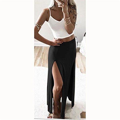(GUAngqi Women's Sexy High Waisted Double Slits Open Long Skirt,BlackM)