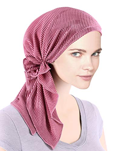 The Bella Scarf Chemo Turban Head Scarves Pre-Tied Bandana for Cancer Plisse Rose Pink