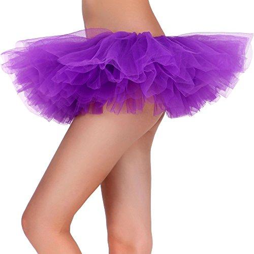 Plus Size Purple Tutu (Tutu Skirt for Women Tulle 5 Layered Ballerina Dancer Tutu Dress up Mini Skirt-Lawewnder)