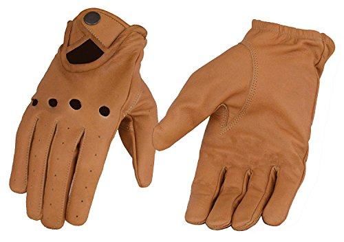 Men's Saddle Tan Men's Leather Driving Glove w/ Wrist Snap -