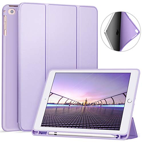 Ztotop Newest iPad 9.7 Inch 2018 Case with Pencil Holder - Lightweight Soft TPU Back Cover and Trifold Stand with Auto Sleep/Wake, Protective for iPad 6th Generation(A1893/A1954),Light Purple