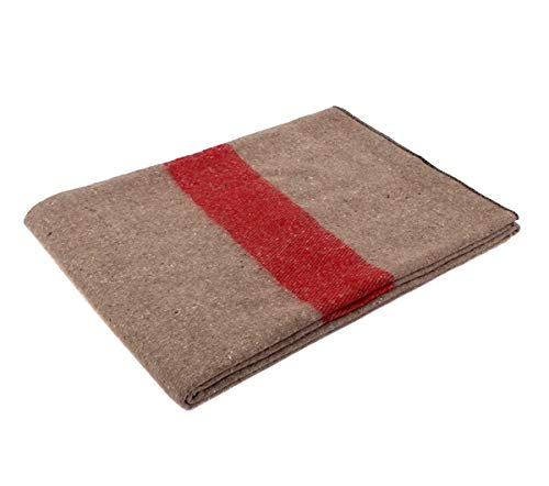 Rothco Swiss Style Wool Blanket, Tan/Red Stripe ()