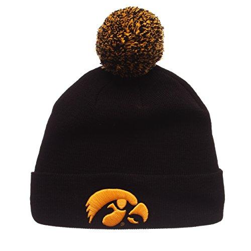 ZHATS Iowa Hawkeyes Black Cuff Beanie Hat with POM POM - NCAA Cuffed Winter Knit Toque Cap