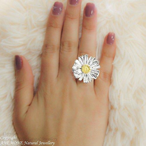 (Handmade Daisy Flower, Greek Nature Inspired, Open, one size, Adjustable Ring)