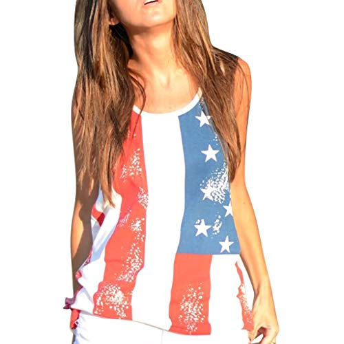 (MTENG Womens Casual Summer Flag Print Short Sleeveless Vest Patriotic Stripes Star American Flag Print Tank Top)
