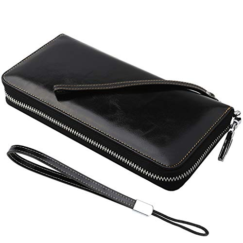 Dante Women's RFID Blocking Real Leather Zip Around Wallet Clutch Large Travel Purse Wristlet(Large Size Black)