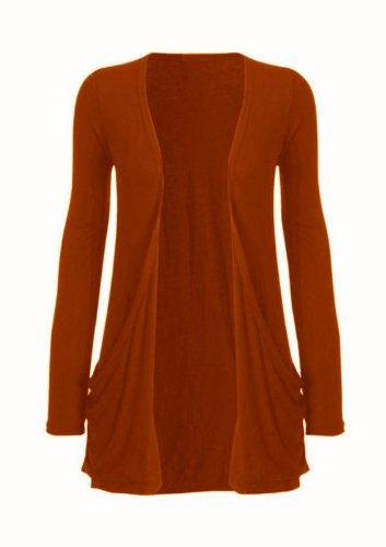 Hot Hanger Ladies Plus Size Pocket Long Sleeve Cardigan 16-26 : Color – Rust : Size – 16-18 LXL
