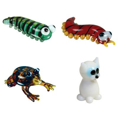 Miniature Caterpillar, Centipede, Frog, WhiteCat Figurine Set