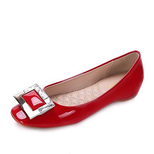 AalarDom Mujer Mini Tacón Puntera Cuadrada Material Suave Sólido De salón Rojo-Cuña