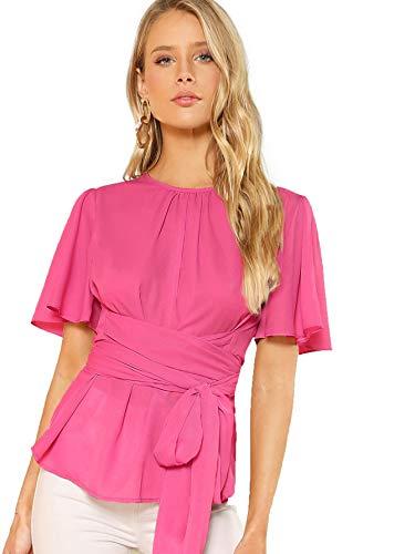 (Romwe Women's Self Tie Wist Short Sleeve Casual Chiffon Blouse Tops Hot Pink Large)