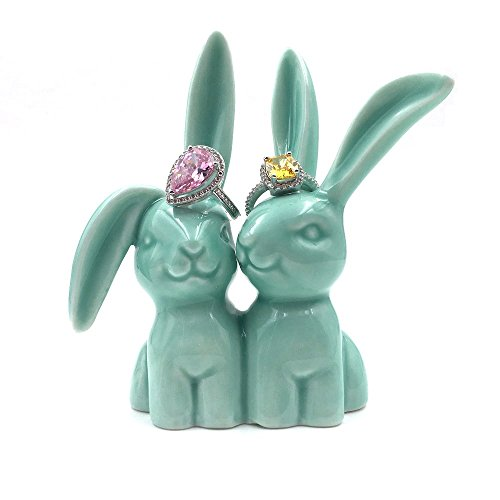 OYLZ Ceramic Rabbit Bunny Jewelry Ring Holder for Wedding Rings & Engagement Rings Teal Color
