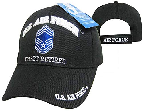 U.S. Air Force CMSGT Retired Black USAF Embroidered Ball Cap Hat 540A